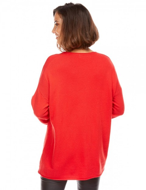 info pour aa628 09cb0 Pull Col V en Maille ROUGE, Ouversize