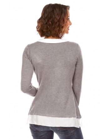 Pull chemise integrée Gris clair Etoile du cachemire