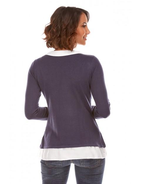 Pull chemise integrée Marine Etoile du cachemire