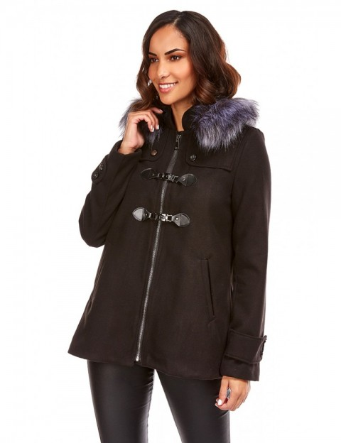 Duffle coat court - noir