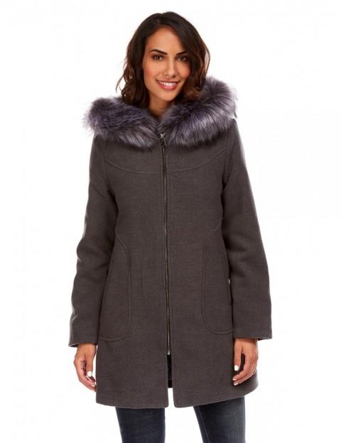 Manteau à capuche imitation fourrure - anthracite