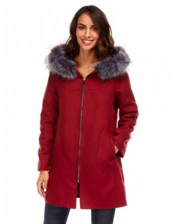 Manteau à capuche imitation fourrure - bordeaux