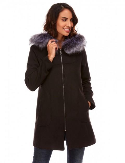Manteau à capuche imitation fourrure - noir