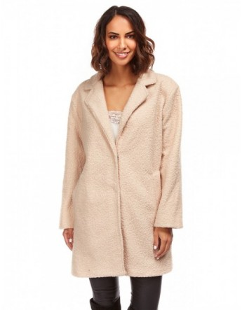 Manteau boyfriend imitation mouton - beige