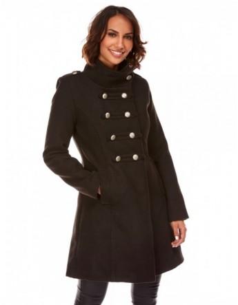 Manteau mi-long militaire - noir