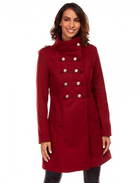 Manteau mi-long militaire - bordeaux