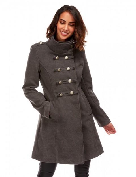 Manteau mi-long militaire - anthracite