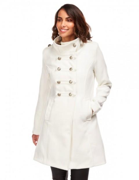 Manteau mi-long militaire - blanc