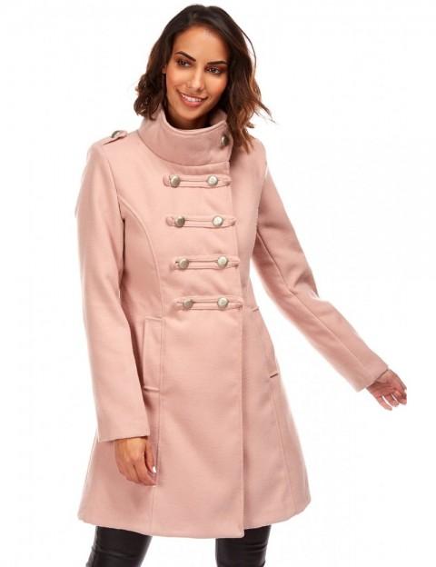 Manteau mi-long militaire - rose