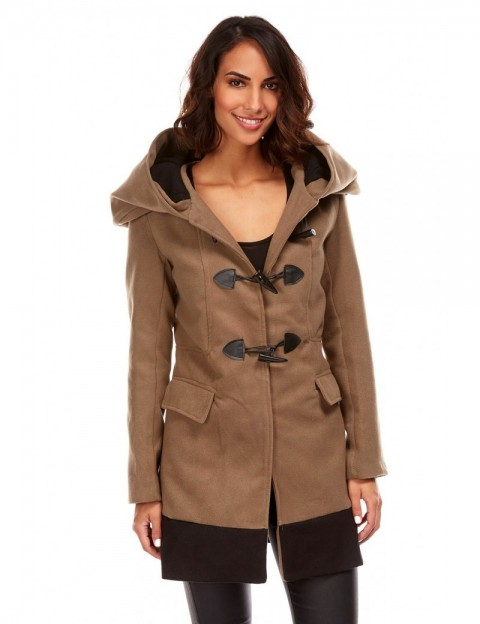 Duffle coat mi-long bicolore - taupe