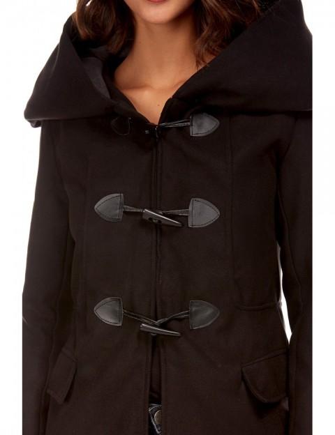 Duffle coat mi-long bicolore - noir