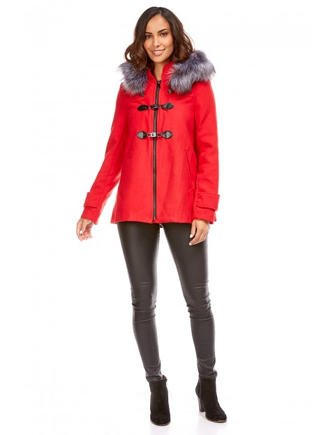Duffle coat court -Rouge