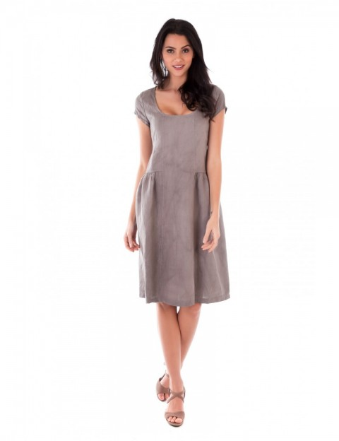ROBE LIN MANCHE COURTE TAUPE Lin Passion