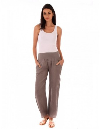 PANTALON LONG LIN TAUPE Lin Passion