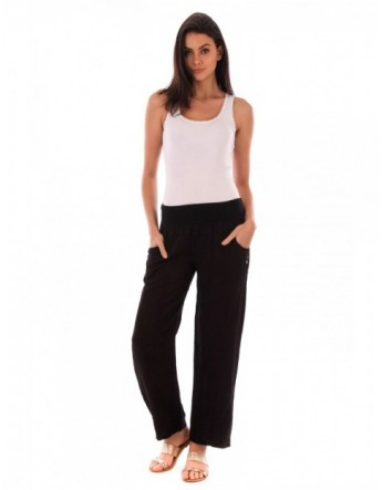 PANTALON LONG LIN NOIR Lin Passion