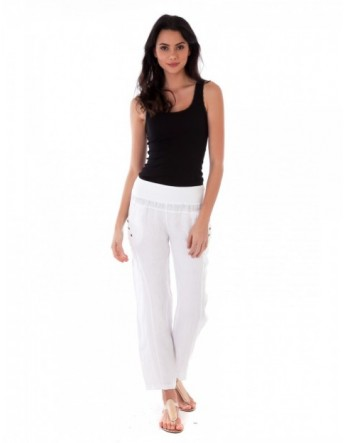 PANTALON LONG LIN BLANC Lin Passion
