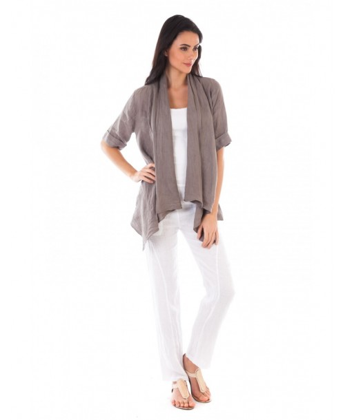 GILET LIN TAUPE Lin Passion