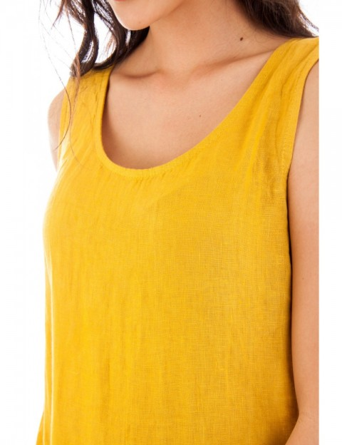 ROBE LIN A VOLANT FRONCE SAFRAN Lin Passion