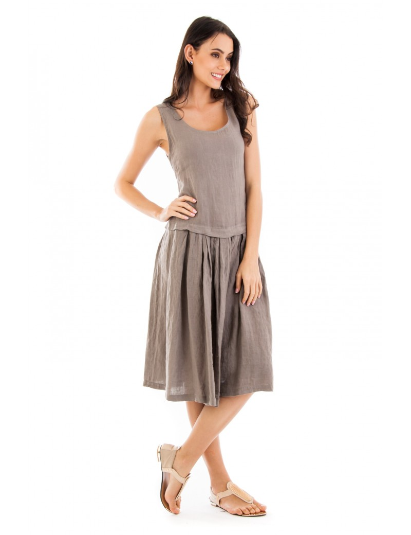 ROBE LIN A VOLANT FRONCE TAUPE Lin Passion