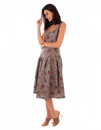 ROBE LIN FLEURIE TAUPE Lin Passion