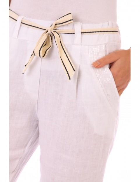 Pantalon Lucie LIN BLANC Lin Passion