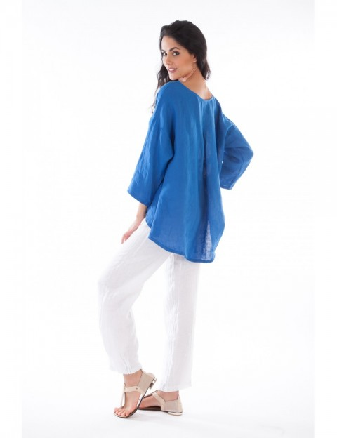 Tunique Alessia ample Bleu-Royal Lin Passion