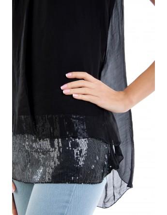 Top Lisa en soie Noir