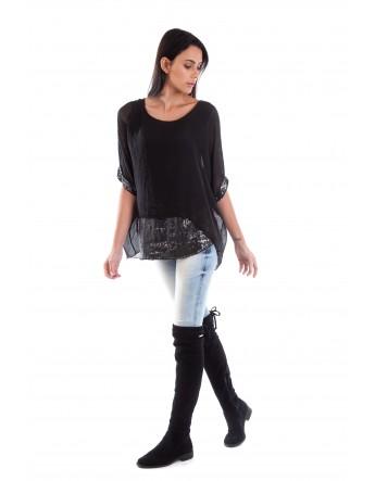 Tunique Camille en soie Noir