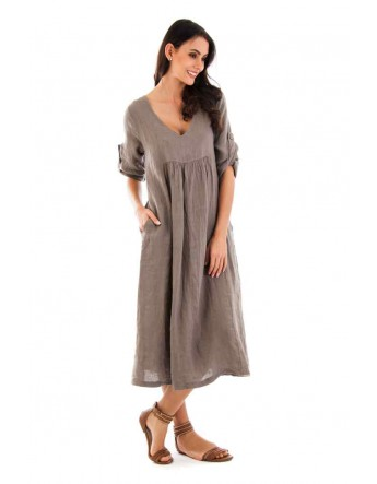 ROBE ALice en lin TAUPE Lin Passion