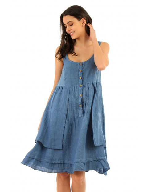 ROBE NANTER EN LIN. INDIGO Lin Passion