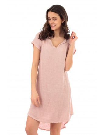 ROBE BIANCA EN LIN ROSE Lin Passion