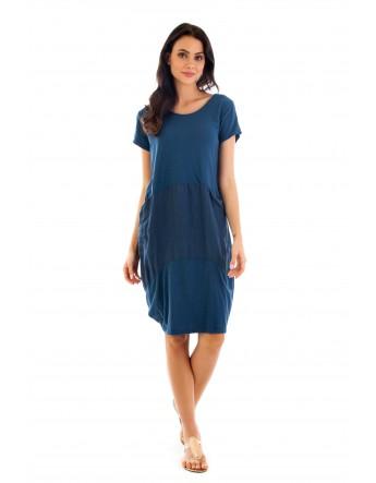 Robe Camille bleu-canrad en coton Fille de Coton