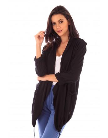 Gilet Alix noir en coton Fille de Coton