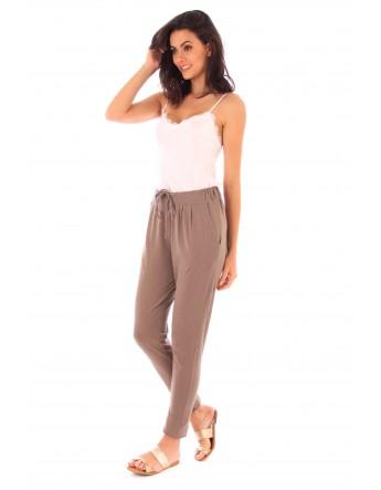 Pantalon Adle taupe en coton Fille de Coton