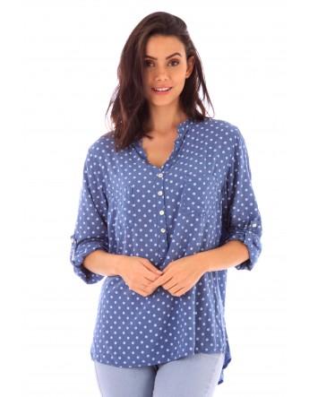 Chemise Romane bleu en coton Fille de Coton