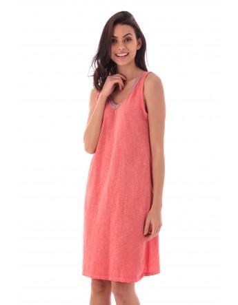 Robe Asmah corail en coton Fille de Coton