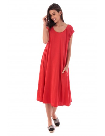 Robe Lila rouge en coton