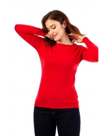 Pull col rond échancré sur les épaules