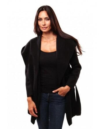 Manteau trench à capuche Noir