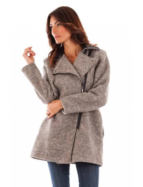 Manteau col tailleur - gris clair