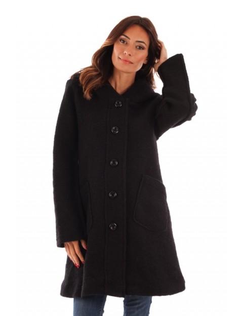 Manteau à capuche en laine - noir