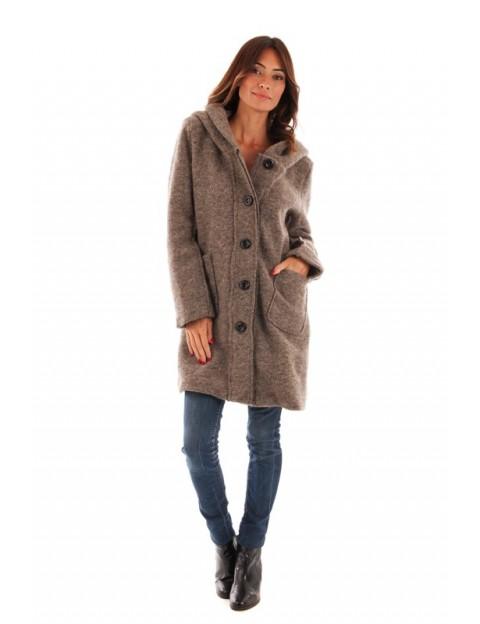 Manteau à capuche en laine - taupe