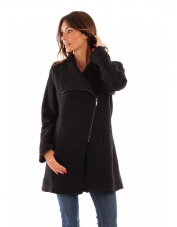 Manteau col tailleur - noir