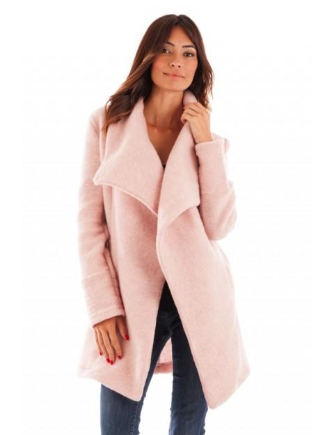 Manteau col châle - rose