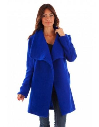 Manteau col châle - bleu royal