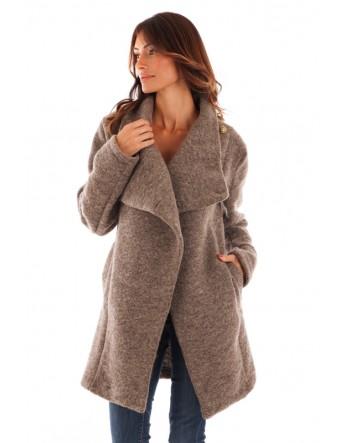 Manteau col châle - taupe