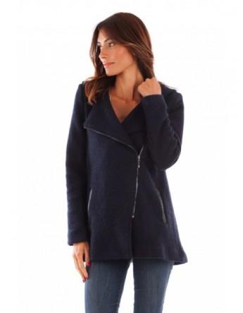 Manteau à capuche en laine bouillie - marine
