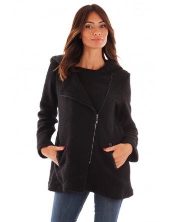 Manteau à capuche en laine bouillie - noir
