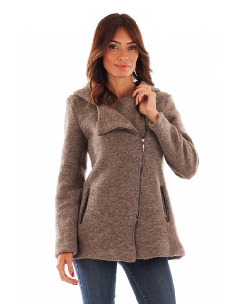 Manteau à capuche en laine bouillie - taupe