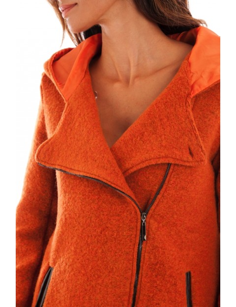 Manteau laine femme orange